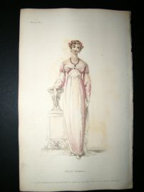 Ackermann 1811 Hand Col Regency Fashion Print. Full Dress 5-30